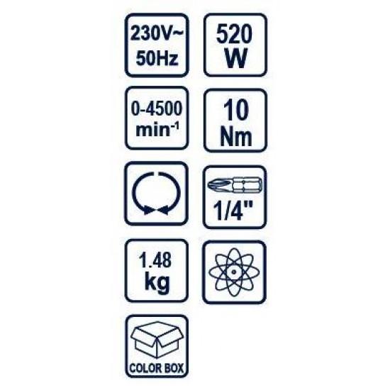 Raider RD-ES46 Βιδολόγος Ηλεκτρικός 520w